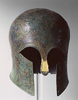 0277642 © Granger - Historical Picture ArchiveARCHAEOLOGY.   Greek civilization, 6th century b.C. Corinthian style bronze helmet. From Necropolis at Ayia Paraskevi (Thessaloniki), tomb 262, circa 500 b.C. Full Credit: DEA / A. DAGLI ORTI / Granger, NYC -- All rights reserved.