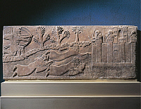 0277726 © Granger - Historical Picture ArchiveARCHAEOLOGY.   Relief depicting an attack on a fortress from land and from sea using diver soldiers, artefact from Nimrud, Iraq. Assyrian civilisation, 9th Century BC. Full Credit: DEA / G. DAGLI ORTI / Granger, NYC -- All rights reserved.