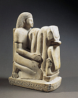 0277846 © Granger - Historical Picture ArchiveARCHAEOLOGY.   Egyptian civilization, New Kingdom, Dynasty XVIII. Limestone statue of Setau, overseer of the storehouse of the Temple of Amon with Nekhbet cobra. Full Credit: DEA / G. DAGLI ORTI / Granger, NYC -- All rights reserved.