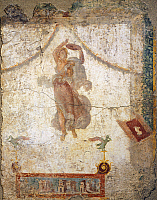 0278119 © Granger - Historical Picture ArchiveARCHAEOLOGY.   Painting in the Fourth Pompeian Style depicting a flying Maenad with a tambourine, 10x113 cm. Roman Civilization, 1st Century. Full Credit: DEA PICTURE LIBRARY / Granger, NYC -- All Rights Reserved.
