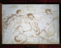 0278151 © Granger - Historical Picture ArchiveARCHAEOLOGY.   Roman civilization, 1st century A.D. Theseus and the Centaurs, Theseus fighting against the Centaur Eurytus to defend Hippodamia. Painting on marble, cm. 35 x 50, from Herculaneum. Full Credit: DEA PICTURE LIBRARY / Granger, NYC -- All Rights Reserved.