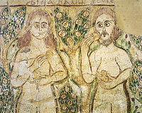 0278447 © Granger - Historical Picture ArchiveARCHAEOLOGY.   Egyptian civilization, Coptic Period, 10th-11th century. Adam and Eve in the act of eating the apple. Mural painting from Fayum. Full Credit: DEA / G. DAGLI ORTI / Granger, NYC -- All Rights Reserved.