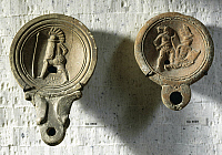 0278596 © Granger - Historical Picture ArchiveARCHAEOLOGY.   Roman civilization, 1st century A.D. Terracotta oil lamps decorated with reliefs: gladiator (Valeri Hroci) training and gladiatorial combat. Full Credit: DEA / G. DAGLI ORTI / Granger, NYC -- All rights reserved.