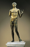0278599 © Granger - Historical Picture ArchiveARCHAEOLOGY.   Roman civilization, 2nd century A.D. Gilt bronze statuette of Apollo from Lillebonne. Full Credit: DEA / G. DAGLI ORTI / Granger, NYC -- All rights reserved.