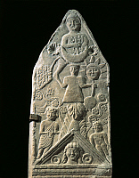 0278786 © Granger - Historical Picture ArchiveARCHAEOLOGY.   Punic-Numidian art, 2nd century b.C.-1st century A.D. Votive stele with reliefs containing elements of Berber, Punic (Tanit) and Greek-Roman (Dionysus, Aphrodite, Zeus and Hermes) culture. Detail: Sun, Moon and male figures. From Ghorfa at Macota, surroundings of Dougga, Tunisia. Full Credit: DEA / G. DAGLI ORTI / Granger, NYC -- All rights re