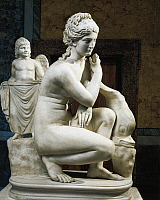 0278852 © Granger - Historical Picture ArchiveARCHAEOLOGY.   Roman civilization, 1st century A.D. Marble statue of Aphrodite bathing. Copy from a Greek bronze original by Doidalsas, 3rd century b.C. Full Credit: DEA / G. DAGLI ORTI / Granger, NYC -- All rights reserved.