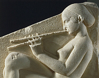0278880 © Granger - Historical Picture ArchiveARCHAEOLOGY.   Greek civilization, 5th century b.C. Ludovisi Throne, Thasos marble. Detail of relief depicting woman playing double flute. Full Credit: DEA / G. DAGLI ORTI / Granger, NYC -- All Rights Reserved.