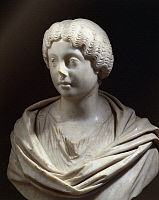 0278954 © Granger - Historical Picture ArchiveARCHAEOLOGY.   Roman civilization, 2nd century A.D. Marble bust of Faustina the Younger, 125-176 A.D., wife to Marcus Aurelius. From Lamunia. Full Credit: DEA PICTURE LIBRARY / Granger, NYC -- All Rights Reserved.