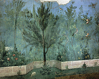 0279007 © Granger - Historical Picture ArchiveARCHAEOLOGY.   Roman civilization, 1st century b.C. Fresco depicting garden with fruit trees and birds. From Rome, Triclinium of the House of Livia. Detail, a pine tree. Full Credit: DEA / G. DAGLI ORTI / Granger, NYC -- All rights reserved