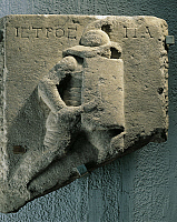 0279110 © Granger - Historical Picture ArchiveARCHAEOLOGY.   Roman civilization, 1st-2nd century A.D. Funerary stele with relief depicting gladiator Istros. From Aydin, ancient Tralles, Turkey. Full Credit: DEA PICTURE LIBRARY / Granger, NYC -- All rights reserved.