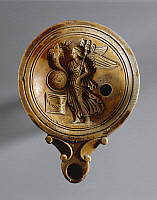 0279279 © Granger - Historical Picture ArchiveARCHAEOLOGY.   Roman civilization. Fictile oil lamp with relief depicting goddess Fortuna. From Tomb Rebato 41, nearby Este (Veneto region, Italy). Full Credit: DEA / A. DAGLI ORTI / Granger, NYC -- All rights reserved.