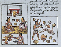 0279452 © Granger - Historical Picture ArchiveARCHAEOLOGY.   Manuscript, Mexico, 16th century. The new fire, domestic pagan ritual with the devil. From The Code of Florence 'Historia general de las cosas de Nueva Espana' by Fra Bernardino de Sahagun in Spanish and Nahuatl. Facsimile. Full Credit: DEA PICTURE LIBRARY / Granger, NYC -- All rights