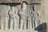 0279524 © Granger - Historical Picture ArchiveARCHAEOLOGY.   Relief depicting the investiture of Narsah by the goddess Anahita, in Naqsh-e Rustam in the Province of Fars, Iran. Sassanid civilisation. Full Credit: DEA / N. CIRANI / Granger, NYC -- All rights reserved.