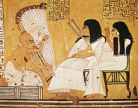 0279537 © Granger - Historical Picture ArchiveARCHAEOLOGY.   Egypt - Ancient Thebes (UNESCO World Heritage List, 1979). New Kingdom village of state labourers at Dayr al-Madinah (Deir el-Medina). Tomb of Anherkha, 20th Dynasty. Mural painting of deceased Khai-Inherkha and wife before blind harpist. Full Credit: DEA / M. SEEMULLER / Granger, NYC -- All Rights Reserved.