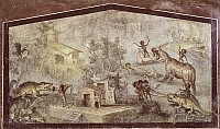0280027 © Granger - Historical Picture ArchiveARCHAEOLOGY.   Fresco depicting a crocodile being hunted by Pygmies, from Pompeii (UNESCO World Heritage List, 1997), Campania. Roman Civilization, 1st Century. Full Credit: DEA / M. CARRIERI / Granger, NYC -- All rights reserved.