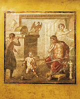 0280060 © Granger - Historical Picture ArchiveARCHAEOLOGY.   Fresco depicting an infant Hercules strangling the serpents, House of the Vettii, Pompeii (UNESCO World Heritage List, 1997), Campania. Roman Civilization, 1st Century. Full Credit: DEA / A. DAGLI ORTI / Granger, NYC -- All Rights Reserved.