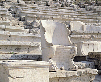0280076 © Granger - Historical Picture ArchiveARCHAEOLOGY.   Marble throne in the Dionysus theatre at the Acropolis in Athens (Greece). Greek Civilization, 4th Century BC-2nd Century AD. Full Credit: DEA / G. DAGLI ORTI / Granger, NYC -- All Rights Reserved.