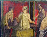0280117 © Granger - Historical Picture ArchiveARCHAEOLOGY.   Detail of a fresco depicting the ceremony of initiation into the Dionysian cult, Hall of the Dionysian Mysteries, from the Villa of the Mysteries, Pompeii (UNESCO World Heritage List, 1997), Campania. Roman Civilization, 1st Century. Full Credit: DEA / A. DAGLI ORTI / Granger, NYC -- All Rights Reserved.