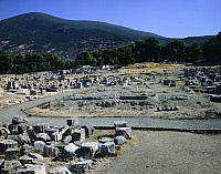 0280153 © Granger - Historical Picture ArchiveARCHAEOLOGY.   Foundations of the Temple of Asklepios, ca 380 BC, work by the architect Theodotos, Epidaurus, Greece. Greek civilization, 4th Century BC. Full Credit: DEA / G. DAGLI ORTI / Granger, NYC -- All rights reserved.