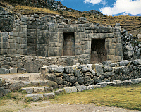 0280474 © Granger - Historical Picture ArchiveARCHAEOLOGY.   Peru - Cuzco - Tambomachay, Inca archaeological site. Walls and fountains called 'Inca baths', 15th century. Trapezoidal niches. Full Credit: DEA / G. DAGLI ORTI / Granger, NYC -- All Rights Reserved.