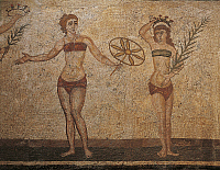0281459 © Granger - Historical Picture ArchiveARCHAEOLOGY.   Coronation of the Winner, detail from the mosaic of the Ten Maidens. Villa Romana del Casale (UNESCO World Heritage, 1997), Piazza Armerina, Sicily. Roman Civilization, 4th Century. Full Credit: DEA / G. DAGLI ORTI / Granger, NYC -- All Rights Reserved.