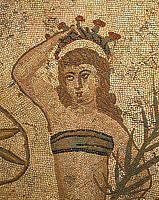 0281460 © Granger - Historical Picture ArchiveARCHAEOLOGY.   Coronation of the Winner, detail from the mosaic of the Ten Maidens. Villa Romana del Casale (UNESCO World Heritage, 1997), Piazza Armerina, Sicily. Roman Civilization, 4th Century. Full Credit: DEA / G. DAGLI ORTI / Granger, NYC -- All Rights Reserved.