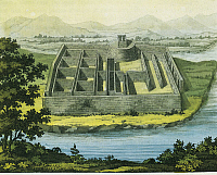 0281624 © Granger - Historical Picture ArchiveARCHAEOLOGY.   Peru, 19th century. Inca civilization, Callo Palace. Engraving from Giulio Ferrario's work, 'South America', 1827. Full Credit: DEA / G. DAGLI ORTI / Granger, NYC -- All Rights Reserved.
