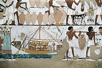 0281979 © Granger - Historical Picture ArchiveARCHAEOLOGY.   Egypt - Luxor - Ancient Thebes (UNESCO World Heritage List, 1979) - Tomb of Khaemwaset. Mural painting depicting a scene of carriage of wine on a boat. New Kingdom, Dynasty XX. Full Credit: DEA / G. LOVERA / Granger, NYC -- All Rights Reserved.