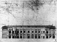 0282425 © Granger - Historical Picture ArchiveART & ARCHITECTURE.   Cross section of the Royal Casino of Persano (Salerno), drawing. Italy, 18th century. Full Credit: DEA / F. TANASI / Granger, NYC -- All rights reserved.