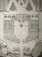 0282430 © Granger - Historical Picture ArchiveART & ARCHITECTURE.   Plan of Esterhazy Castle and its gardens in Fertod, 1760. Hungary, 18th century. Full Credit: DEA / A. DAGLI ORTI / Granger, NYC -- All rights reserved.
