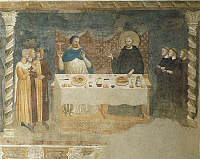0282628 © Granger - Historical Picture ArchiveART & ARCHITECTURE.   Italy - Emilia Romagna region - Ferrara Province - Pomposa Abbey. Refectory. Riminese Master, 14th century, the Miracle of Saint Guido, fresco, 1316-20. Full Credit: DEA PICTURE LIBRARY / Granger, NYC -- All rights res