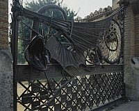 0282656 © Granger - Historical Picture ArchiveART & ARCHITECTURE.   Wrought iron gates and wire mesh, 1884-1887, Finca Guell, Barcelona, by architect Antoni Gaudi. Spain, 19th century. Full Credit: DEA PICTURE LIBRARY / Granger, NYC -- All Rights Reserved.
