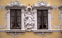 0283096 © Granger - Historical Picture ArchiveART & ARCHITECTURE.   Rococo decoration of the facade of Falkenhaus, 1751, Wuerzburg, Bavaria. Germany, 18th century. Full Credit: DEA / A. VERGANI / Granger, NYC -- All rights res