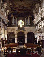 0283709 © Granger - Historical Picture ArchiveART & ARCHITECTURE.   Baroque interior (1604-1613) St Michele church, Freiburg, founded by the Jesuits. Switzerland, 17th century. Full Credit: DEA / G. DAGLI ORTI / Granger, NYC -- All Rights Reserved.