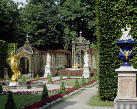 0283962 © Granger - Historical Picture ArchiveART & ARCHITECTURE.   Garden, Linderhof Palace (Schloss Linderhof), near Oberammergau, rebuilt by Ludwig II. Germany, 19th century. Full Credit: DEA / A. DAGLI ORTI / Granger, NYC -- All Rights Reserved.
