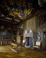 0284326 © Granger - Historical Picture ArchiveART & ARCHITECTURE.   Zodiac room with furnishings from the early 1600, Frederiksborg Castle, Hillerod, built during Christian IV's reign, by the Steenwinkel father and son architects. Denmark, 17th century. Full Credit: DEA / A. DAGLI ORTI / Granger, NYC -- All rights reserved.