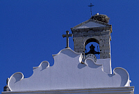 0285878 © Granger - Historical Picture ArchiveART & ARCHITECTURE.   Upper secton of the facade and bell tower of a church in Faro, Portugal. Full Credit: DEA / W. BUSS / Granger, NYC -- All rights reserved.