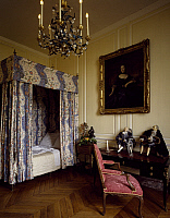 0286742 © Granger - Historical Picture ArchiveART & ARCHITECTURE.   Four-poster bed and 18th century bedroom furniture, Chateau de Breteuil, France. Full Credit: DEA / G. DAGLI ORTI / Granger, NYC -- All rights reserved.