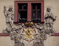 0286958 © Granger - Historical Picture ArchiveART & ARCHITECTURE.   Relief decoration of the facade of the Golden Well Hotel, Karlova, Prague, Bohemia. Czech Republic, 18th century. Full Credit: DEA / C. SAPPA / Granger, NYC -- All Rights Reserved.