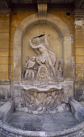 0287003 © Granger - Historical Picture ArchiveART & ARCHITECTURE.   Fountain-side of the inner courtyard (courtyard of honour) at Eszterhazy castle, Fertod. Hungary, 18th century. Full Credit: DEA / S. VANNINI / Granger, NYC -- All Rights Reserved.