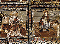 0287301 © Granger - Historical Picture ArchiveART & ARCHITECTURE.   Flight into Egypt, detail from the pine and larch wood ceiling panels in St Martin's Church, ca 1160, Zillis, Switzerland. Full Credit: DEA / G. DAGLI ORTI / Granger, NYC -- All rights reserved.