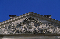 0287355 © Granger - Historical Picture ArchiveART & ARCHITECTURE.   Tympanum of the facade of Chateau de Raray, Picardy. Detail. France, 17th century. Full Credit: DEA / W. BUSS / Granger, NYC -- All rights reserved.