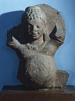 0288761 © Granger - Historical Picture ArchiveASIAN ART.   Kubera, the god of wealth, statue from Kankalitila, Mathura, India. Indian Civilisation, Kushan Empire, 3rd century. Full Credit: DEA / G. NIMATALLAH / Granger, NYC -- All Rights Reserved.