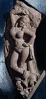 0288763 © Granger - Historical Picture ArchiveASIAN ART.   Damsel standing on a dwarf, relief from Snokh, Mathura, India. Indian Civilisation, Kushan Empire, 1st century. Full Credit: DEA / G. NIMATALLAH / Granger, NYC -- All Rights Reserved.