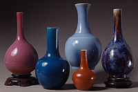 0289045 © Granger - Historical Picture ArchiveASIAN ART.   Flambe ceramic vases, China. Chinese Civilisation, Qing Dynasty, Chien Lung reign, 18th century. Full Credit: DEA / A. DE GREGORIO / Granger, NYC -- All rights reserve