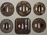 0289103 © Granger - Historical Picture ArchiveASIAN ART.   Iron fretwork tsuba, carved and inlaid, Japan. Japanese Civilisation, 17th-18th century. Full Credit: DEA / A. DAGLI ORTI / Granger, NYC -- All rights reserved.