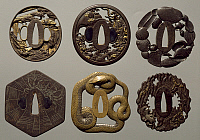 0289106 © Granger - Historical Picture ArchiveASIAN ART.   Iron fretwork tsuba, carved and inlaid, Japan. Japanese Civilisation, 17th-18th century. Full Credit: DEA / A. DAGLI ORTI / Granger, NYC -- All rights reserved.