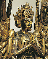 0289287 © Granger - Historical Picture ArchiveASIAN ART.   Avalokitesvara, Bodhisattva with a thousand arms and thousand eyes, gilded and lacquered wooden statue, China. Detail. Chinese Civilisation, Five Dynasties and Ten Kingdoms Period, 10th century. Full Credit: DEA / G. DAGLI ORTI / Granger, NYC -- All rights reserved.