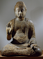 0289370 © Granger - Historical Picture ArchiveASIAN ART.   Seated Buddha, wooden statue, Japan. Japanese Civilisation, Heian period, Fujiwara period, 11th century. Full Credit: DEA / G. DAGLI ORTI / Granger, NYC -- All rights