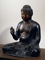 0289371 © Granger - Historical Picture ArchiveASIAN ART.   Amida-Nyorai or Buddha Amitabha, seated while listening, bronze statue, Japan. Japanese Civilisation, Heian period, Fujiwara period, 12th century. Full Credit: DEA / G. DAGLI ORTI / Granger, NYC -- All rights reserved.